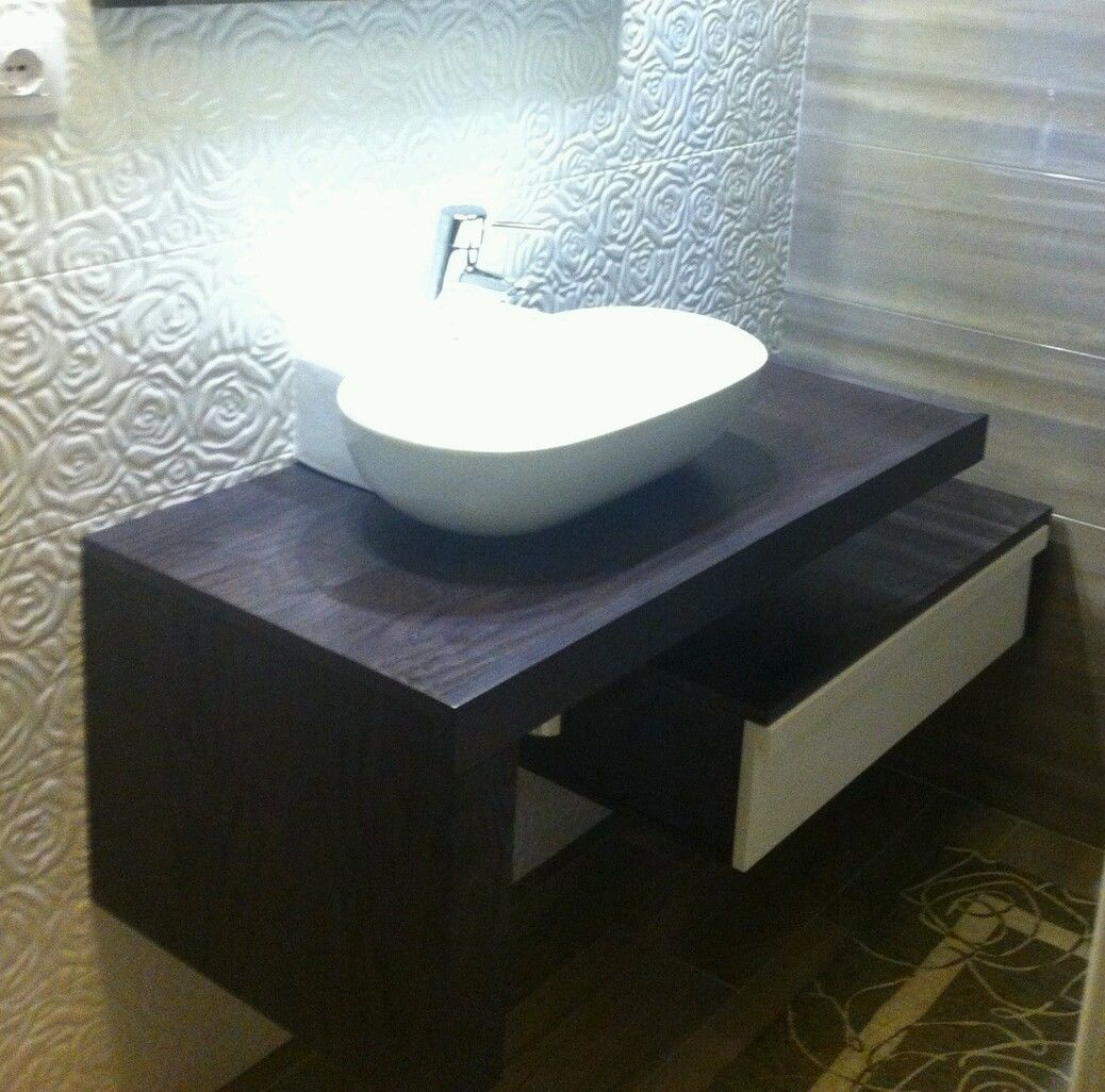 Mobile bagno due pezzi wenge bianco - Pezzi per bagno ...