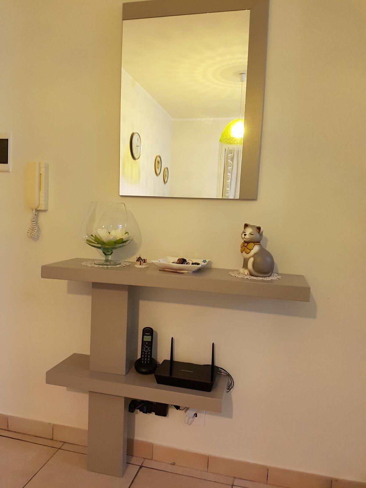 Mobile ingresso moderno con specchiera tortora for Ingresso casa moderno