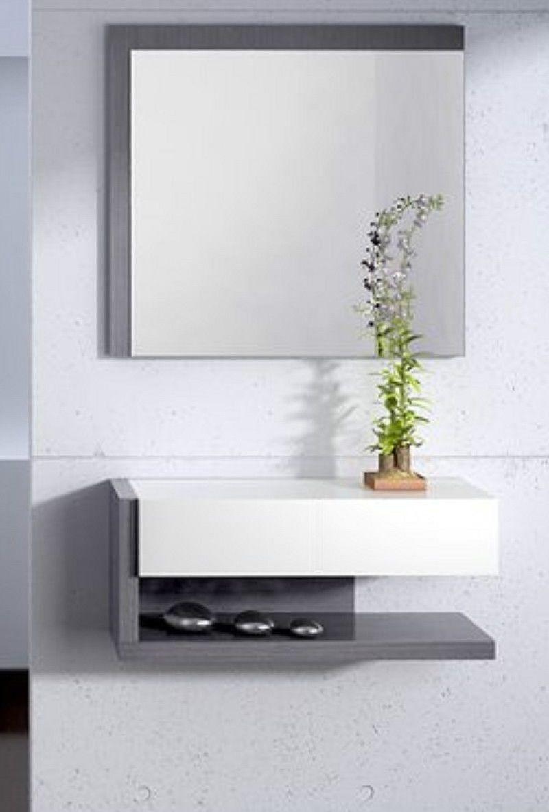 Mobile Ingresso Sospeso Bianco Grigio Con Specchiera